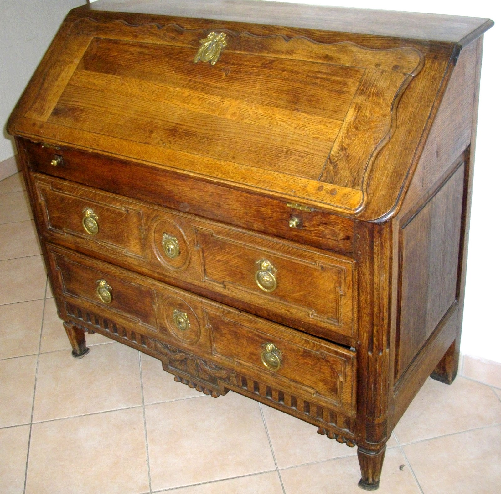 Meuble ancien bureau pente secr taire dos d ane a secret for Bureau secretaire meuble